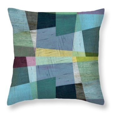 Squares And Shims Throw Pillow by Michelle Calkins