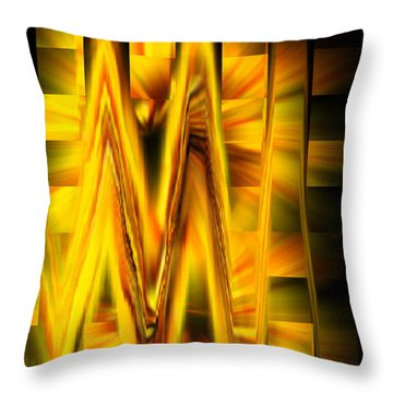 Squares And Waves Throw Pillow by Cherie Duran