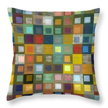 Squares In Squares Five Throw Pillow by Michelle Calkins