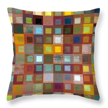 Squares In Squares Four Throw Pillow by Michelle Calkins
