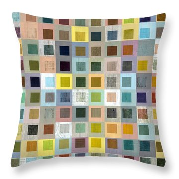 Squares In Squares Three Throw Pillow by Michelle Calkins