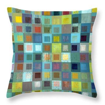 Throw Pillow featuring the digital art Squares In Squares Two by Michelle Calkins