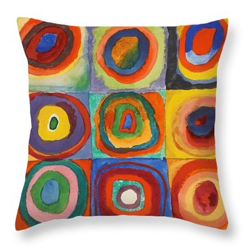 Squares With Concentric Circles Throw Pillow