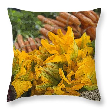 Throw Pillow featuring the photograph Squash Blossoms by Jeanette French