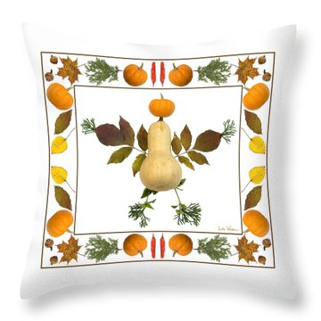 Squash With Pumpkin Head Throw Pillow