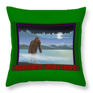 Throw Pillow featuring the digital art Squatch Season's Greetings by Stuart Swartz
