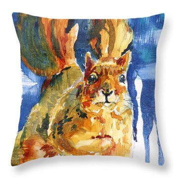 Throw Pillow featuring the painting Squeak by P Maure Bausch