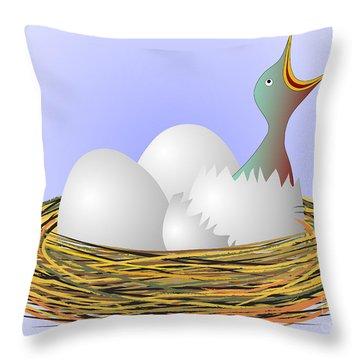 Squeaker Hatching From Eggs Throw Pillow