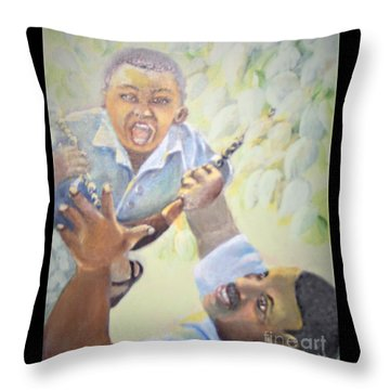 Throw Pillow featuring the painting Squeals Of Joy by Saundra Johnson