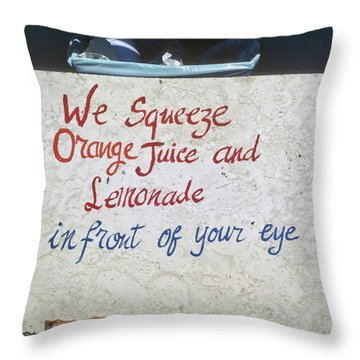 Squeezed Juice Sign Throw Pillow