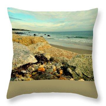 Squibby Cliffs And Mackerel Sky Throw Pillow