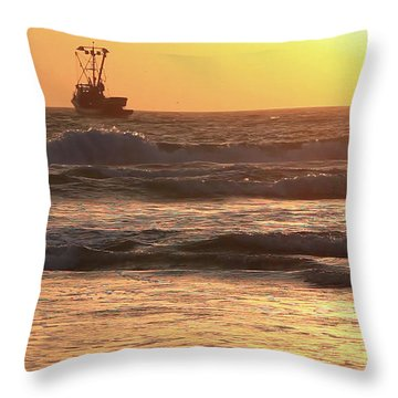 Squid Boat Golden Sunset Throw Pillow