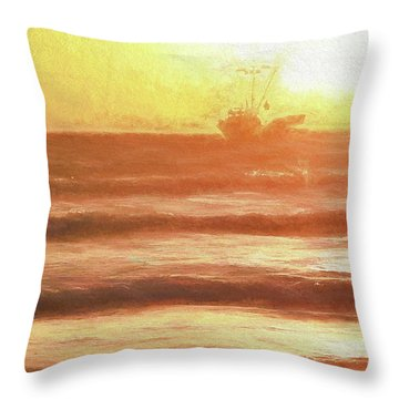 Squid Boat Sunset Throw Pillow
