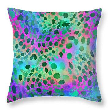 Squid Spots - Green On Bright Throw Pillow