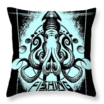 Squid Throw Pillow by Tony Koehl