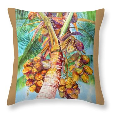Throw Pillow featuring the painting Squire's Coconuts by AnnaJo Vahle
