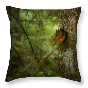 Throw Pillow featuring the photograph Squirrel Breaks The Silence by Lisa Knechtel