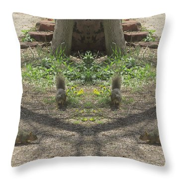 Squirrel Buddies Searching For Acorns Throw Pillow