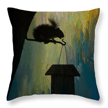 Squirrel  Throw Pillow by Carolyn Dalessandro