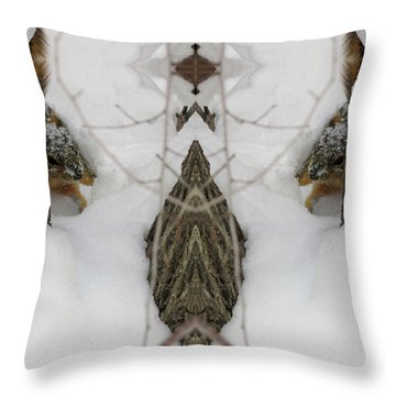 Squirrel Faces Peeking Out From A Snowy Den Throw Pillow