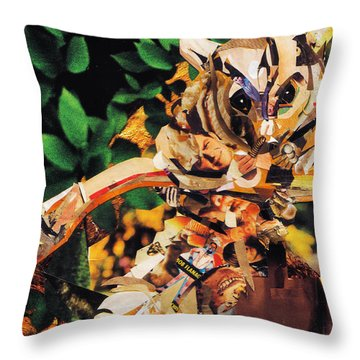 Throw Pillow featuring the mixed media Squirrel Glider Collage by Shawna Rowe