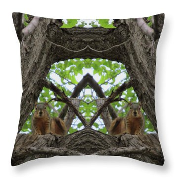 Squirrel Guardians Of The Doorway To A Green World Throw Pillow