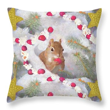 Throw Pillow featuring the painting Squirrel In Snow With Cranberries by Nancy Lee Moran