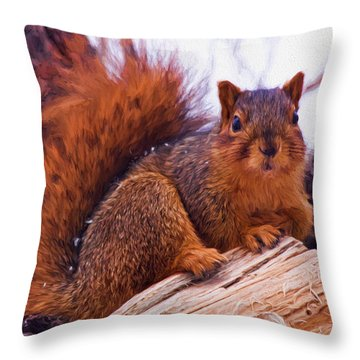 Squirrel In Tree Throw Pillow
