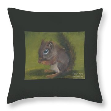 Throw Pillow featuring the painting Squirrel by Jessmyne Stephenson