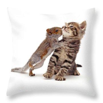 Squirrel Kiss Throw Pillow