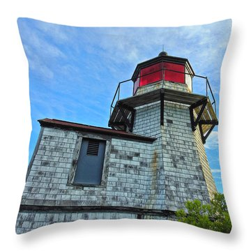 Squirrel Point Lighthouse Throw Pillow