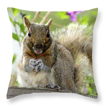 Squirrel Ready To Whistle Throw Pillow