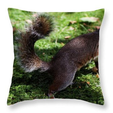 Squirrel Running Throw Pillow