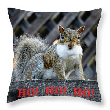 Squirrel Santa Ho Ho Ho Throw Pillow