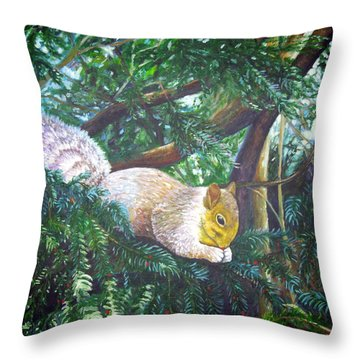 Squirrel Snacking Throw Pillow