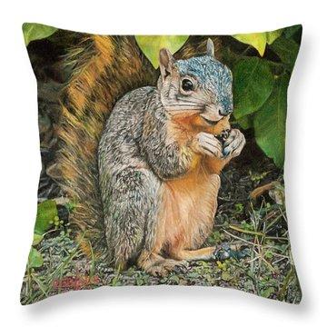 Squirrel Under Bush Throw Pillow