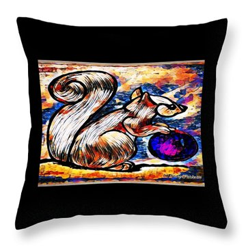 Squirrel With Christmas Ornament Throw Pillow