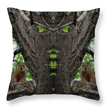 Squirrels Advising The Tiki God Throw Pillow