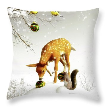 Squirrels And Deer Christmas Time Throw Pillow