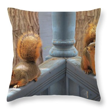 Squirrels Balancing On A Railing Throw Pillow