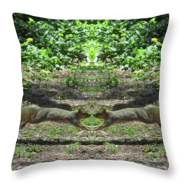 Squirrels Coming Together For A Kiss Throw Pillow