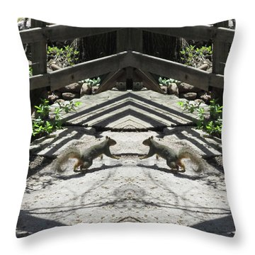 Squirrels Dancing On A Bridge Throw Pillow