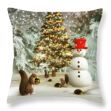 Squirrels Decorating Christmas Throw Pillow