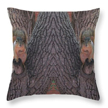 Squirrels In A Tree With Hands On Their Hearts Throw Pillow