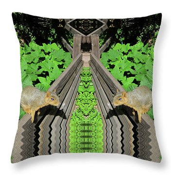 Squirrels On Fence In Surreal World Throw Pillow