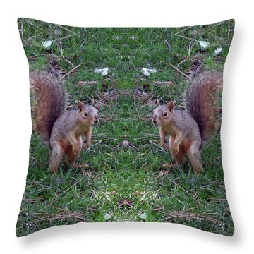 Squirrels With Question Mark Tails Throw Pillow