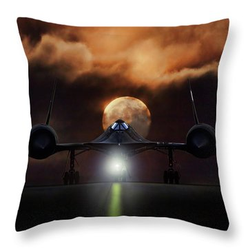 Sr-71 Supermoon Throw Pillow