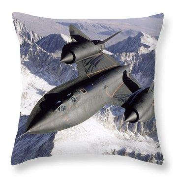 Sr-71b Blackbird In Flight Throw Pillow