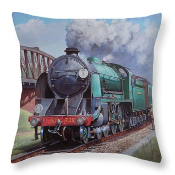 Throw Pillow featuring the painting Sr King Arthur Class. by Mike  Jeffries