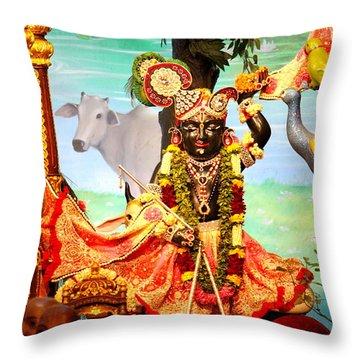 Sri Nath Ji, Radha Gopinath Mandir, Mumbai Throw Pillow by Jennifer Mazzucco